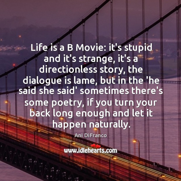 Life is a B Movie: it's stupid and it's strange, it's a Ani DiFranco Picture Quote