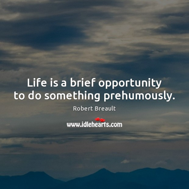 Life is a brief opportunity to do something prehumously. Image