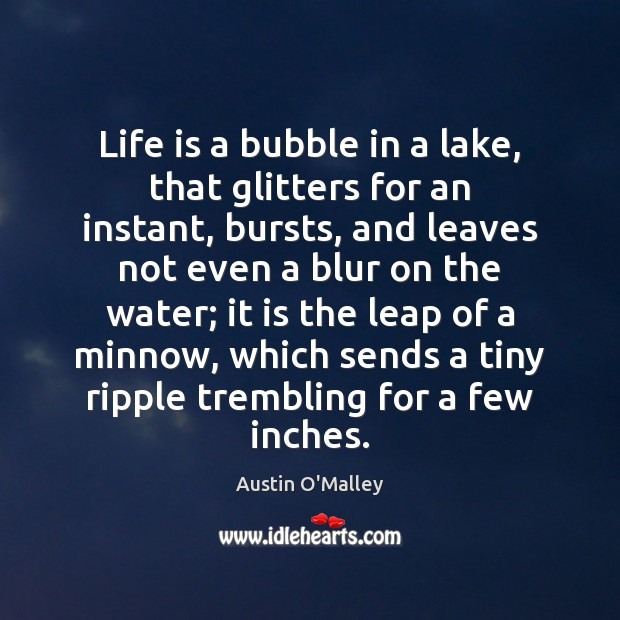 Life is a bubble in a lake, that glitters for an instant, Austin O'Malley Picture Quote