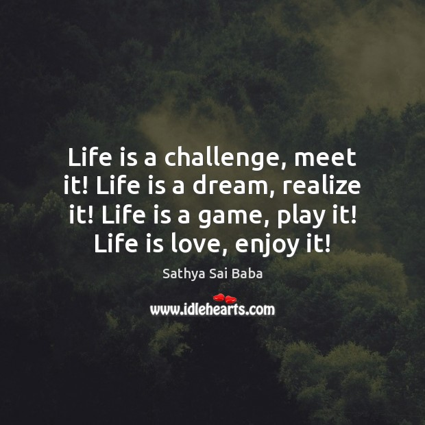 Life is a challenge, meet it! Life is a dream, realize it! Image
