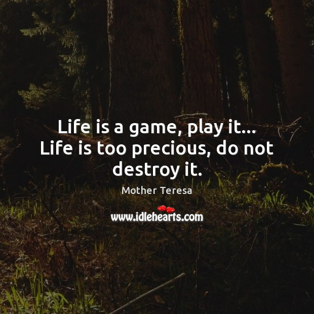 Image, Life is a game, play it… Life is too precious, do not destroy it.