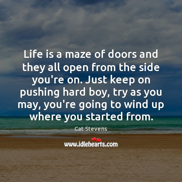 Cat Stevens Picture Quote image saying: Life is a maze of doors and they all open from the