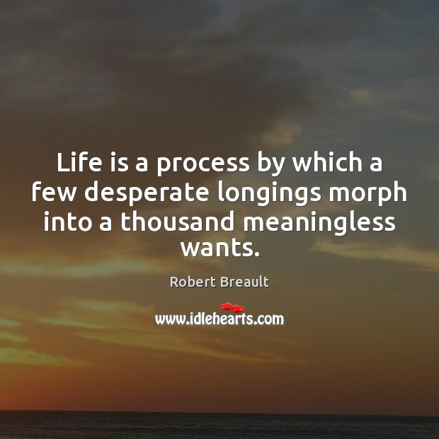 Life is a process by which a few desperate longings morph into Image