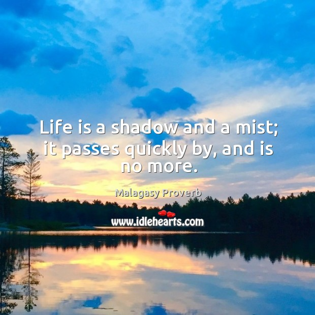 Life is a shadow and a mist; it passes quickly by, and is no more. Malagasy Proverbs Image