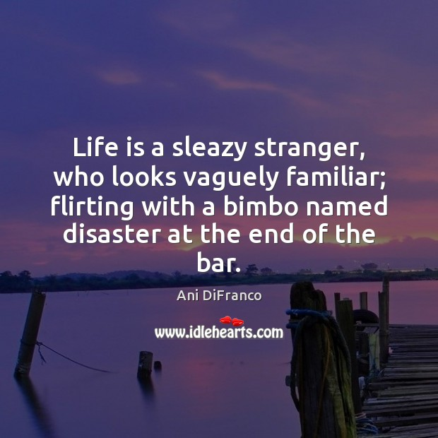 Life is a sleazy stranger, who looks vaguely familiar; flirting with a Ani DiFranco Picture Quote