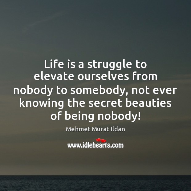 Life is a struggle to elevate ourselves from nobody to somebody, not Image