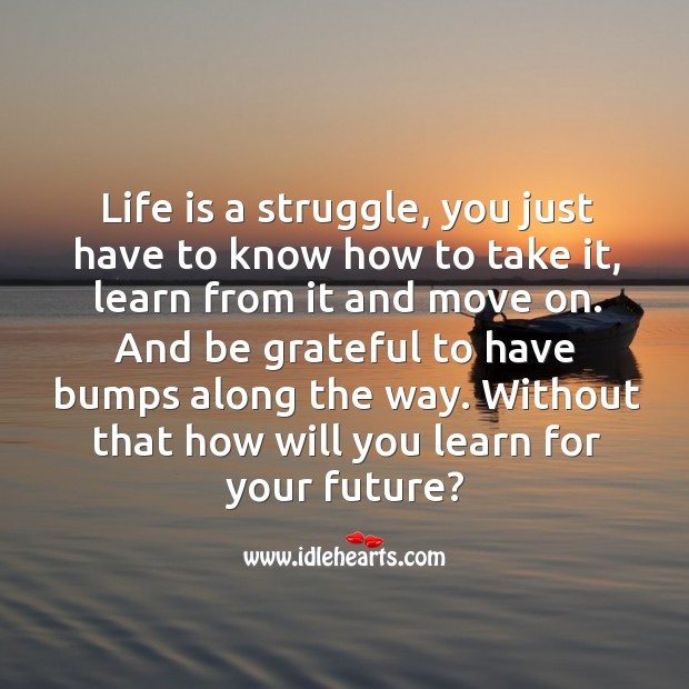 Life is a struggle, you just have to know how to take it, learn from it and move on. Be Grateful Quotes Image
