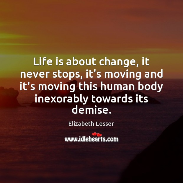 Life is about change, it never stops, it's moving and it's moving Elizabeth Lesser Picture Quote