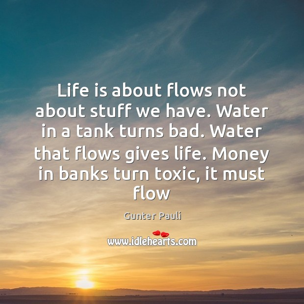 Life is about flows not about stuff we have. Water in a Toxic Quotes Image