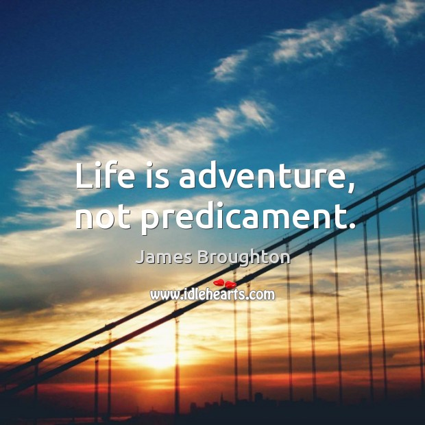 Life is adventure, not predicament. Image