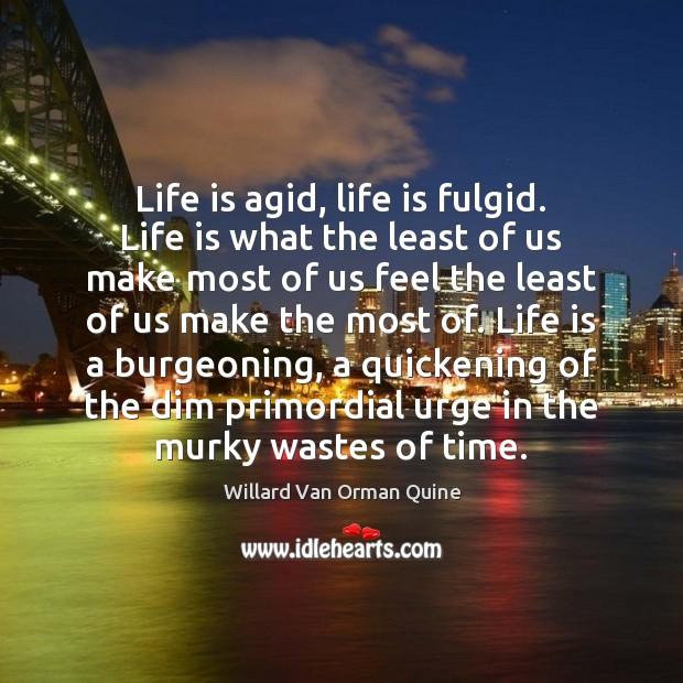 Life is agid, life is fulgid. Life is what the least of Willard Van Orman Quine Picture Quote