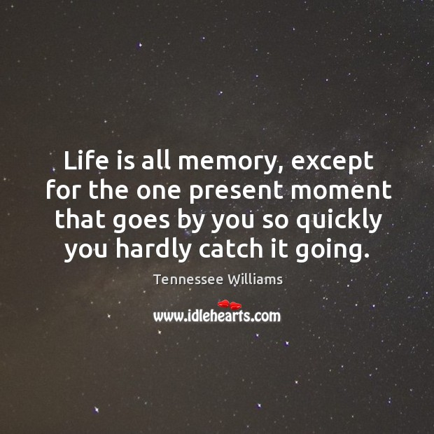Life is all memory, except for the one present moment that goes by you so quickly you hardly catch it going. Image