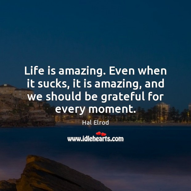 Life is amazing. Even when it sucks, it is amazing, and we Hal Elrod Picture Quote