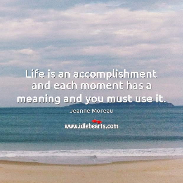Life is an accomplishment and each moment has a meaning and you must use it. Image
