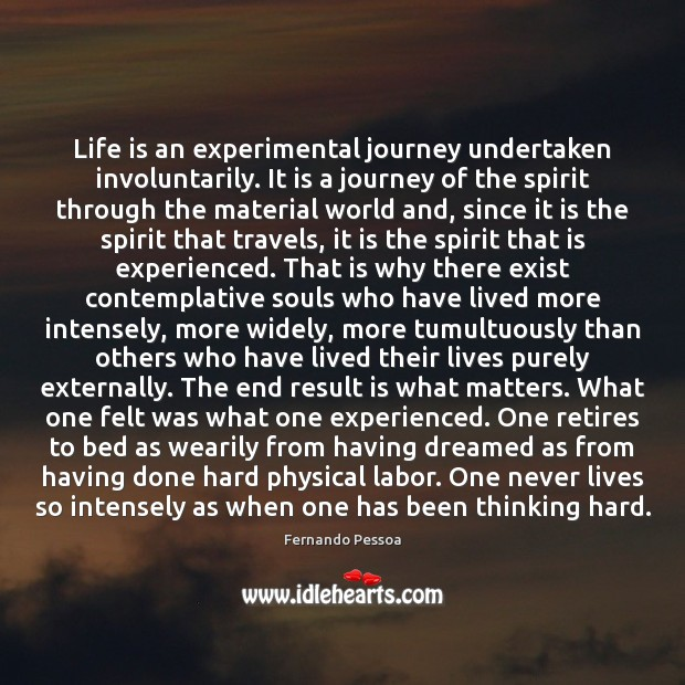 Life is an experimental journey undertaken involuntarily. It is a journey of Journey Quotes Image