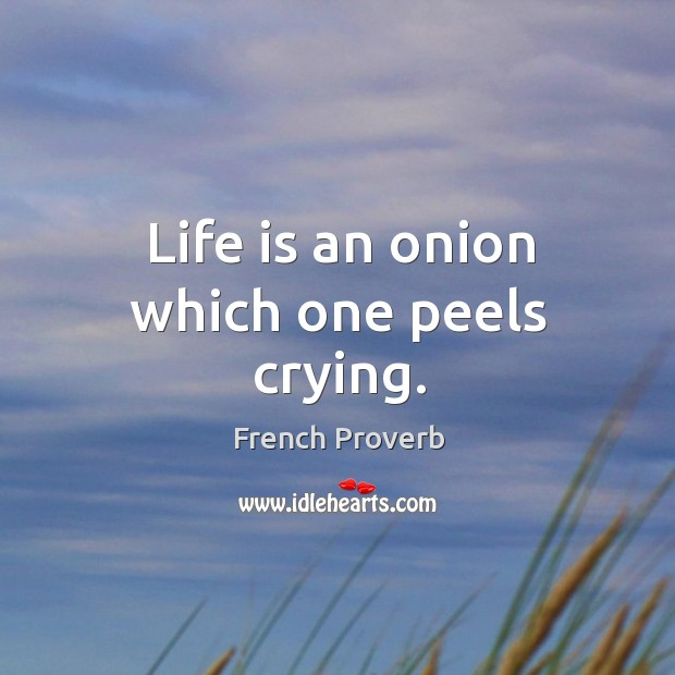 Life is an onion which one peels crying. Image