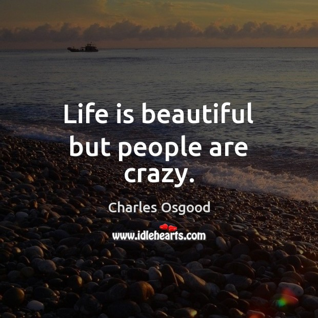 Life is beautiful but people are crazy. Life is Beautiful Quotes Image