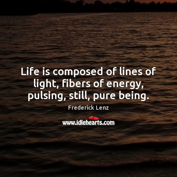 Life is composed of lines of light, fibers of energy, pulsing, still, pure being. Image