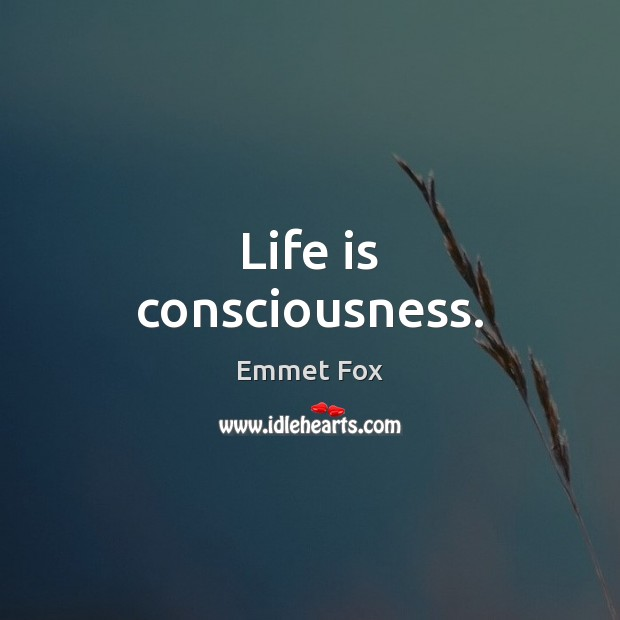 Life is consciousness. Emmet Fox Picture Quote