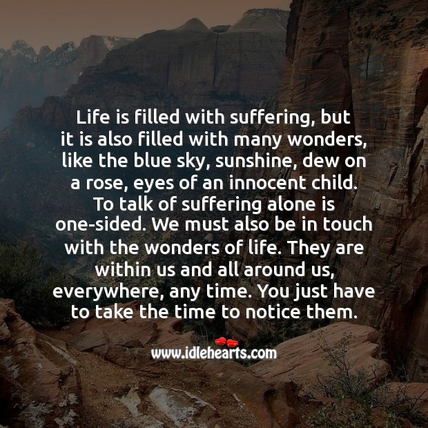 Life is filled with suffering, but it is also filled with many wonders. Alone Quotes Image