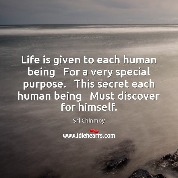 Life is given to each human being   For a very special purpose. Image