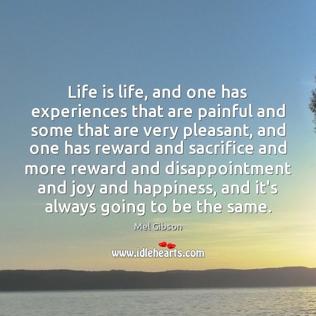 Life is life, and one has experiences that are painful and some Joy and Happiness Quotes Image