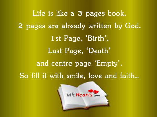 Life Is A 3 Pages Book.