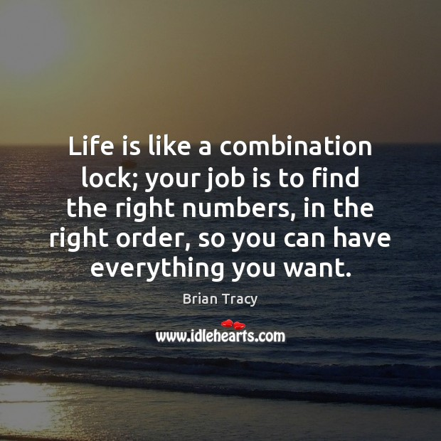 Life is like a combination lock; your job is to find the Image