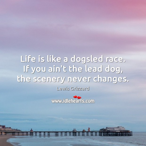 Life is like a dogsled race. If you ain't the lead dog, the scenery never changes. Lewis Grizzard Picture Quote