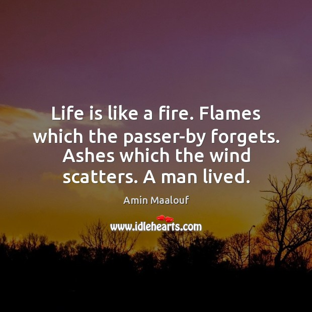 Life is like a fire. Flames which the passer-by forgets. Ashes which Amin Maalouf Picture Quote