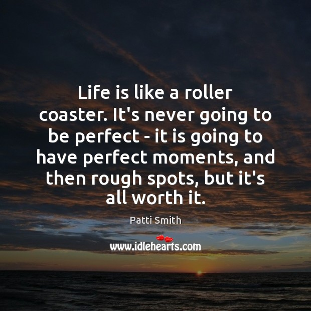Life is like a roller coaster. It's never going to be perfect Patti Smith Picture Quote