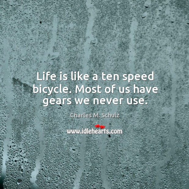 Image, Life is like a ten speed bicycle. Most of us have gears we never use.
