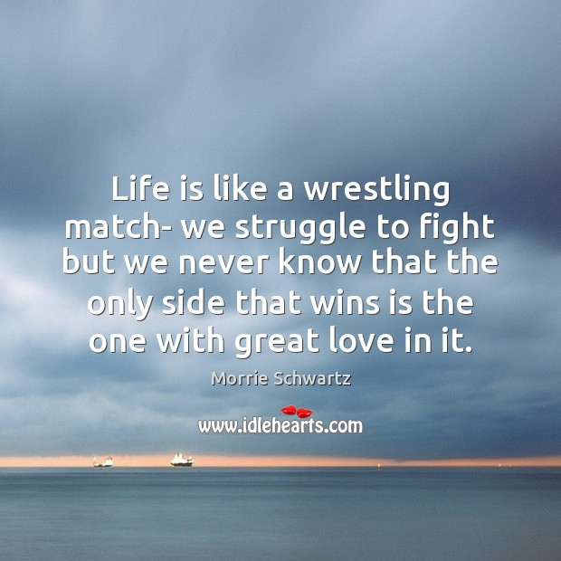 Life is like a wrestling match- we struggle to fight but we Morrie Schwartz Picture Quote