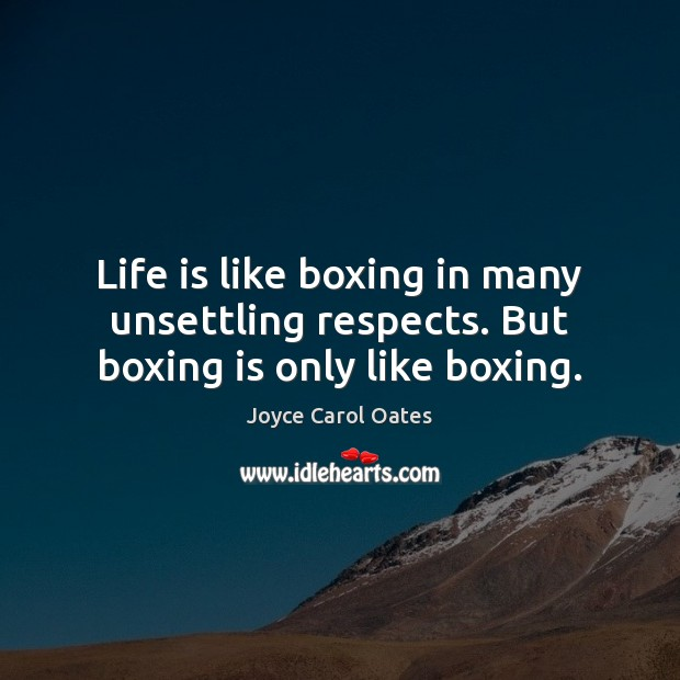 Image, Life is like boxing in many unsettling respects. But boxing is only like boxing.
