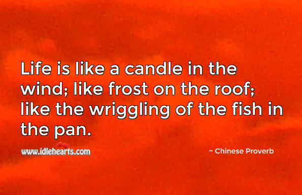 Life is like a candle in the wind. Chinese Proverbs Image