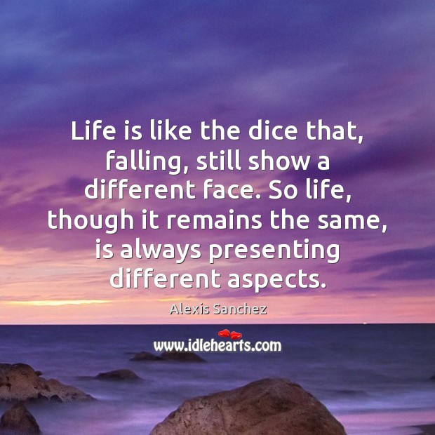 Image, Life is like the dice that, falling, still show a different face.