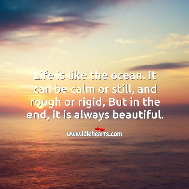 Life is like the ocean. It can be calm or still, and rough or rigid, but in the end, it is always beautiful. Image