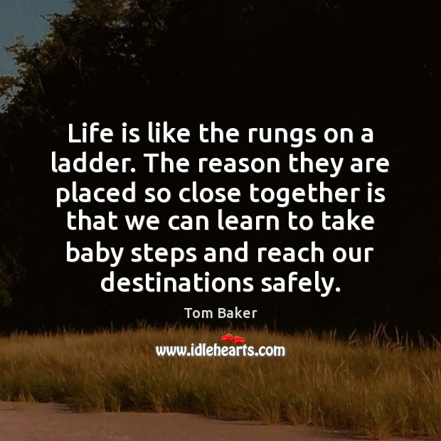 Life is like the rungs on a ladder. The reason they are Tom Baker Picture Quote