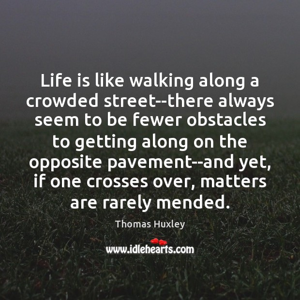 Life is like walking along a crowded street–there always seem to be Thomas Huxley Picture Quote