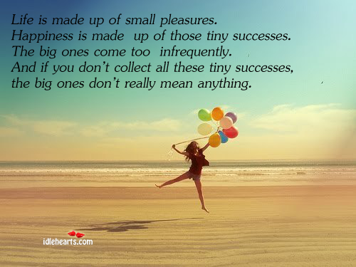 Life is made up of small pleasures. Happiness is made up of. Image