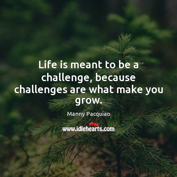 Life is meant to be a challenge, because challenges are what make you grow. Manny Pacquiao Picture Quote