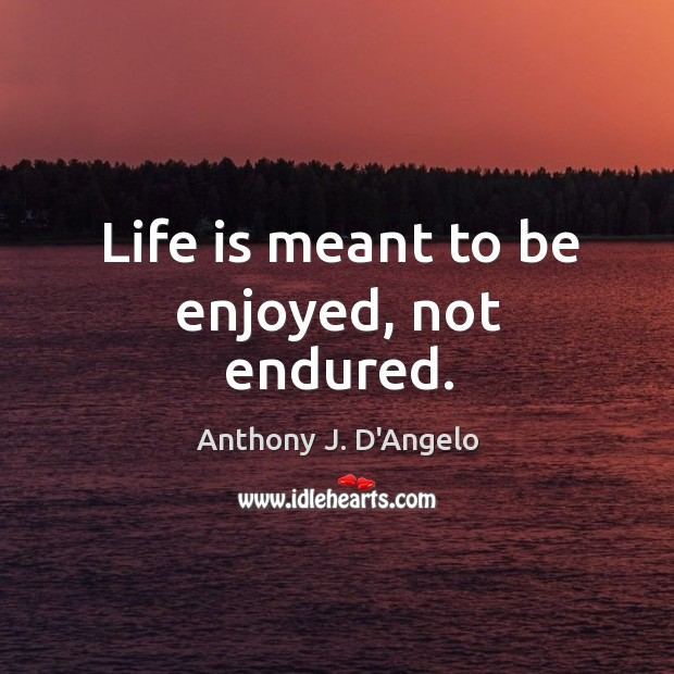 Image, Life is meant to be enjoyed, not endured.