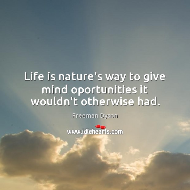 Life is nature's way to give mind oportunities it wouldn't otherwise had. Image