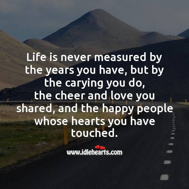 Life is never measured by the years you have Image