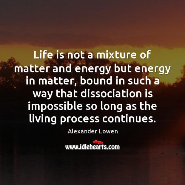 Life is not a mixture of matter and energy but energy in Image