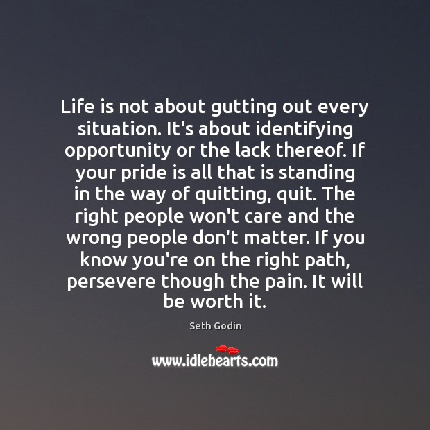 Life is not about gutting out every situation. It's about identifying opportunity Image