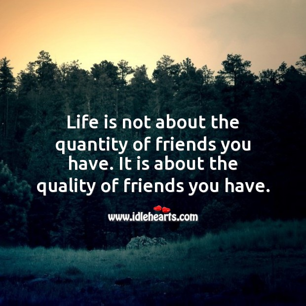 Life is not about the quantity of friends you have. Life Quotes Image