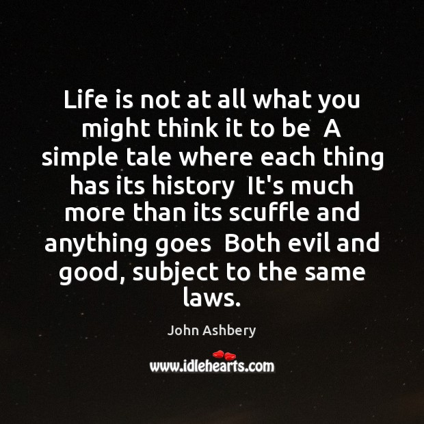 Life is not at all what you might think it to be John Ashbery Picture Quote