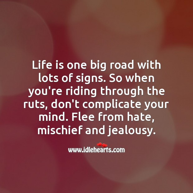 Life is one big road with lots of signs. Hate Quotes Image