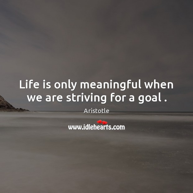 Image, Life is only meaningful when we are striving for a goal .